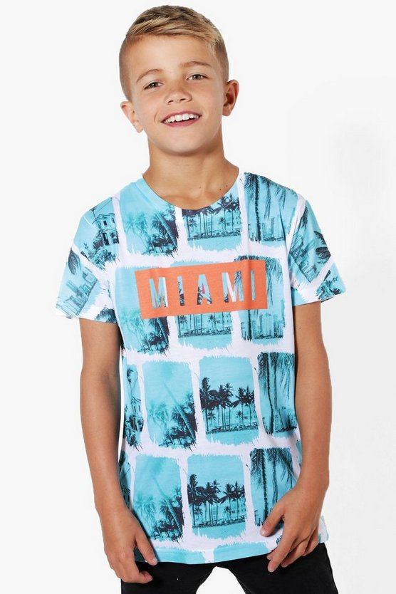 Boys Miami Palm Print Tee