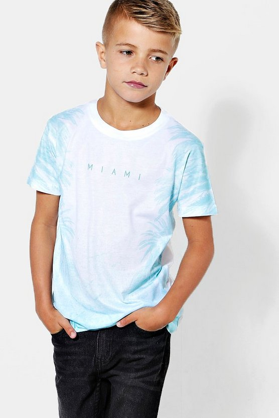 Boys Palm Tree Faded Miami Tee