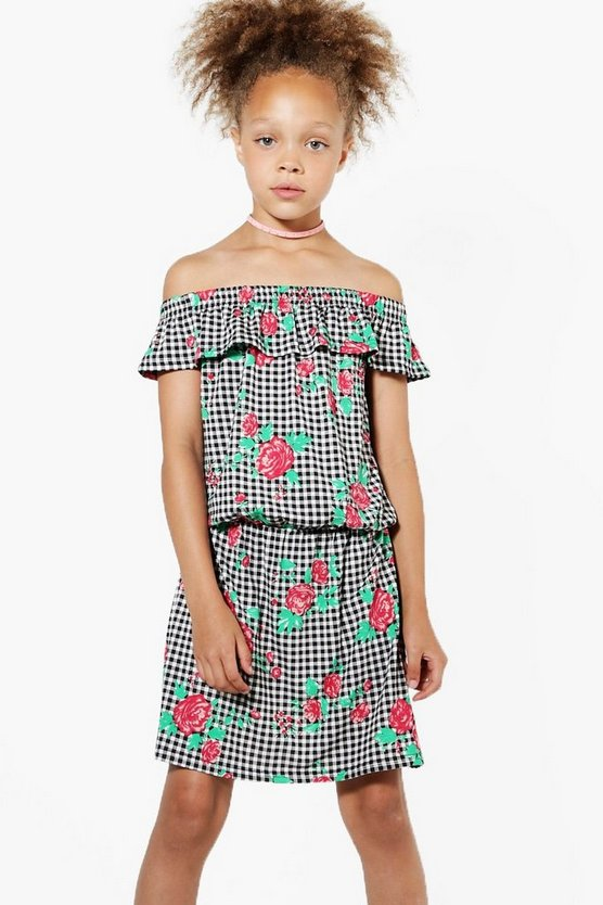 Girls Gingham Bardot Dress