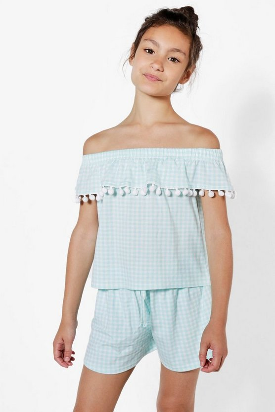 Girls Gingham Bardot Pom Pom Top & Short Set