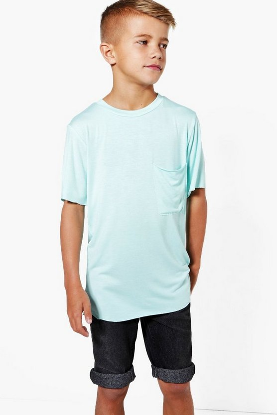 Boys Dip Back Hem with Pocket Longer Line Tee