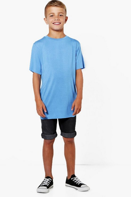Boys Longerline Distressed Tee