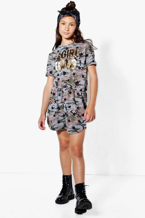 Girls #girlsquad Camo Playsuit