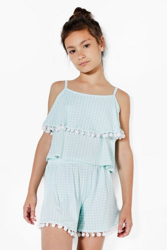Girls Cropped Gingham Top & Short Set