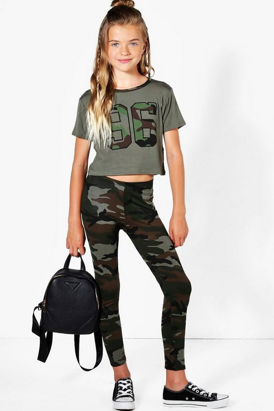 Girls Camo 96 Crop Top & Legging Active Set