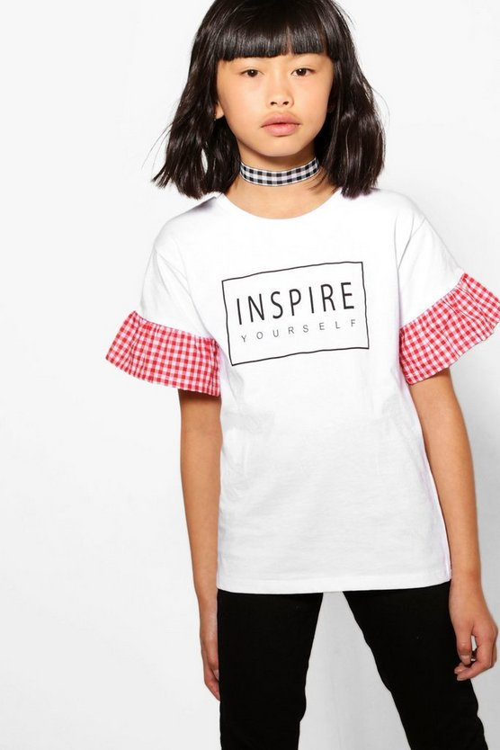Girls Woven Frill Graphic Tee