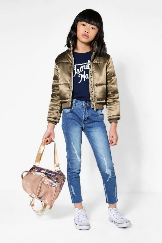Girls Padded Metallic Bomber Jacket