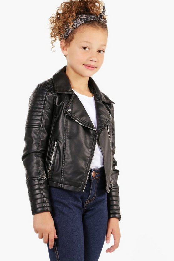 girls biker style faux leather jacket boohoo