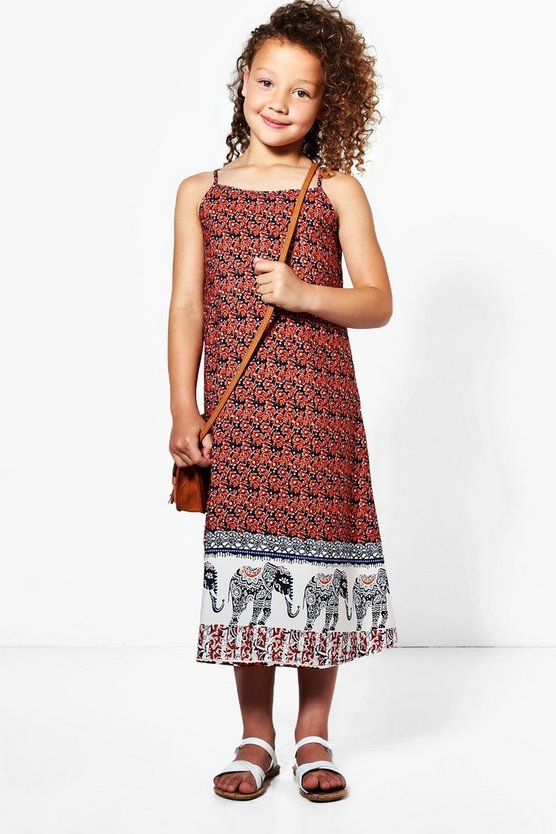 Girls Elephant Print Sun Dress