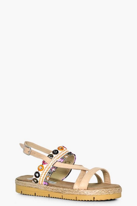 Girls Embroidered Summer Sandal