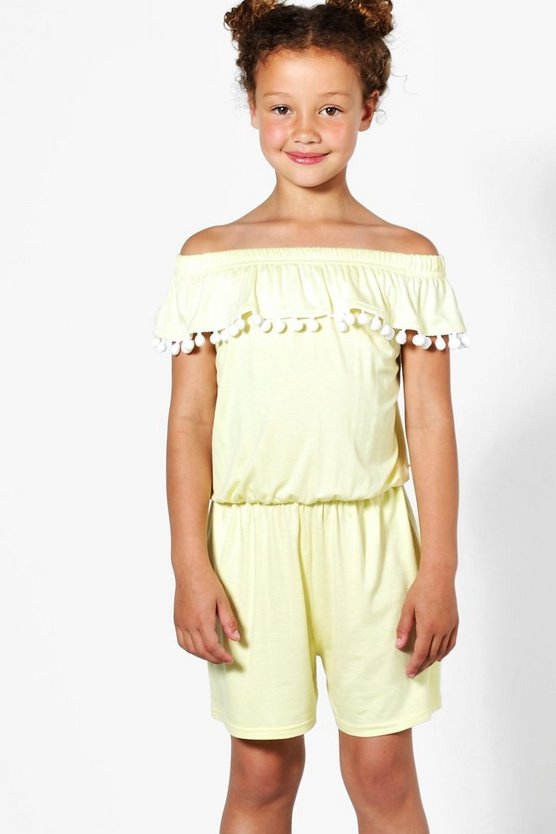 Girls Bardot Pom Pom Trim Playsuit