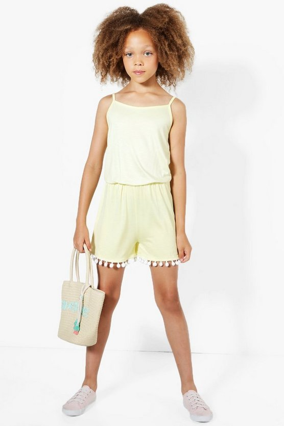Girls Pom Pom Hem Playsuit
