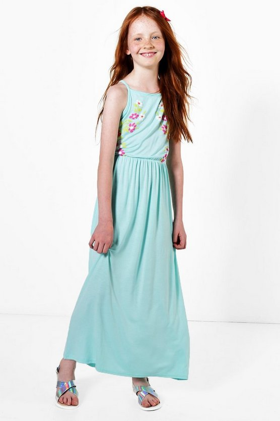 Girls Embroidered Floral Maxi Dress