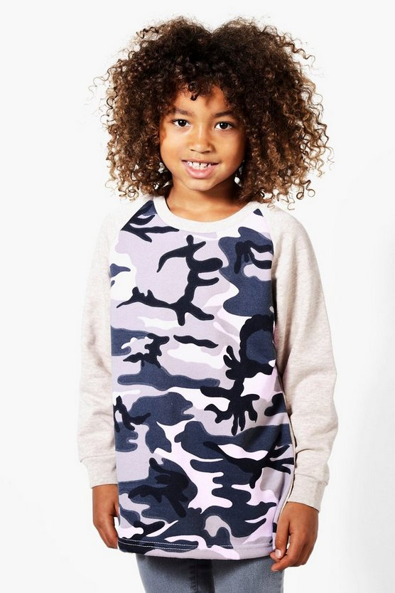 Boys Camo Contrast Sweat Top