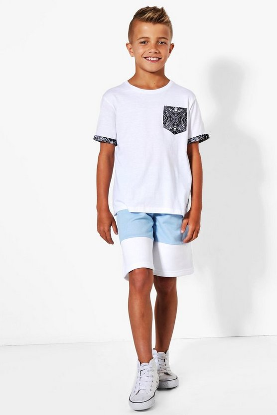 Boys Contrast Panel Fleece Shorts
