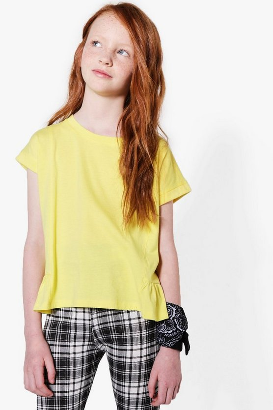 Girls Side Rouche Hem T-Shirt