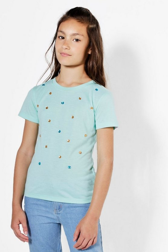 Girls Gem Front Jersey Tee