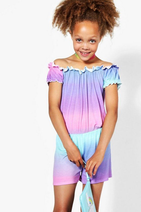 Girls Ombre Off The Shoulder Playsuit