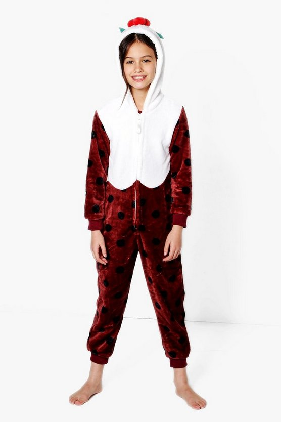 Girls Christmas Pudding Onesie