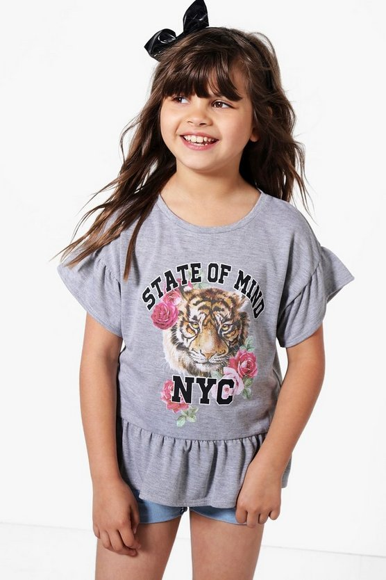 Girls Tiger Placement Tee