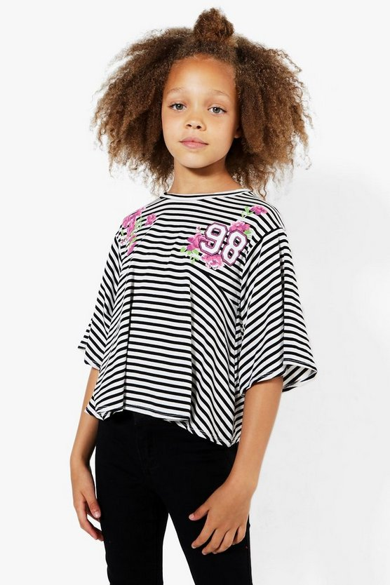 Girls Stripe Flower Embroidery Swing Top
