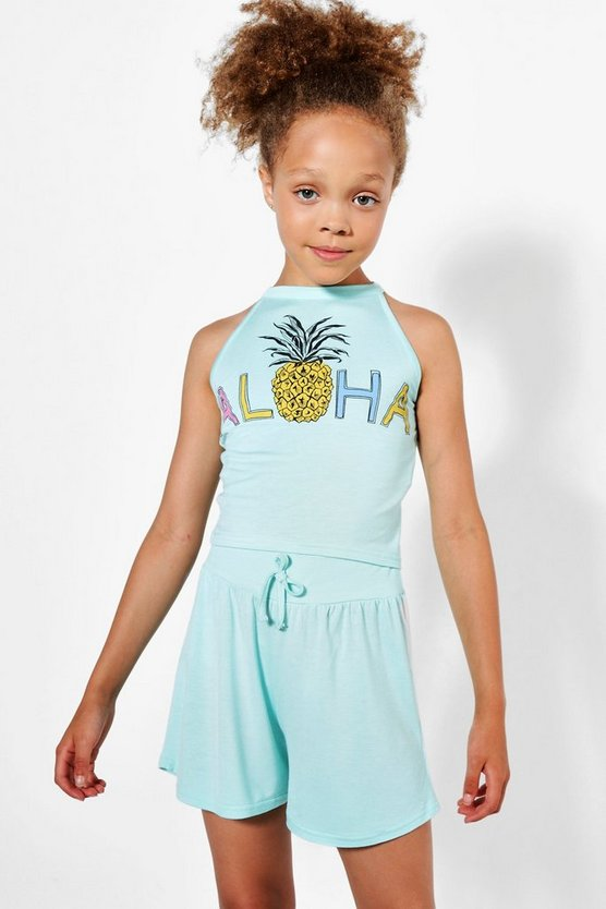 Girls Pineapple Crop Set With Short