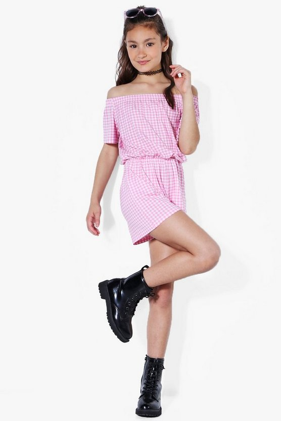 Girls Frill Top Bardot Gingham Playsuit