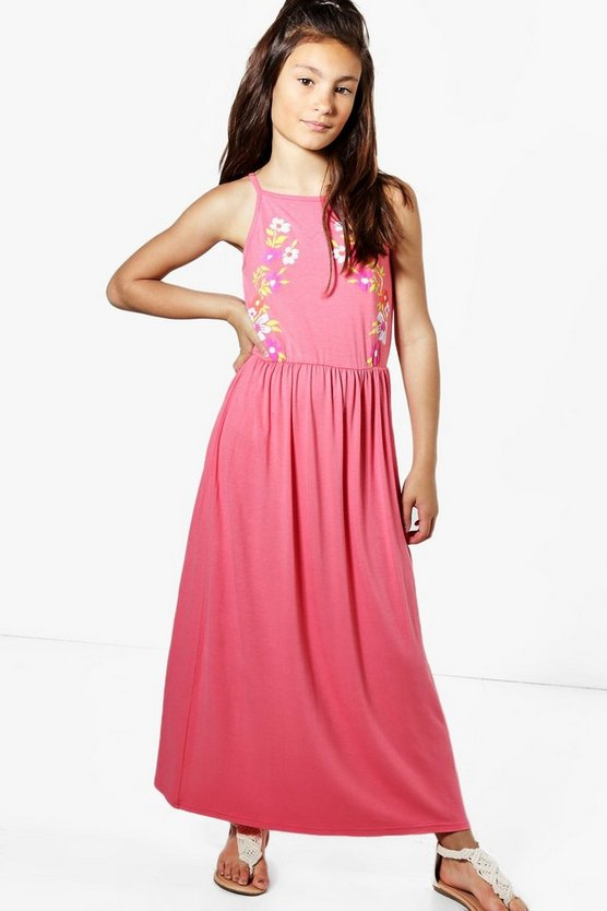 Girls Embroidered Print Maxi Dress