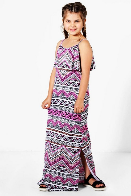 Girls Frill Top Print Maxi Dress