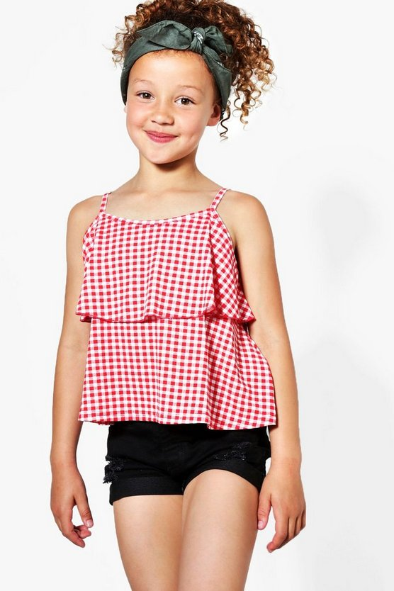 Girls Double Layer Gingham Swing Vest