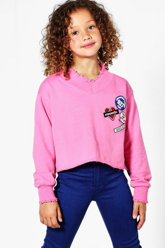 Girls Badge V Neck Cropped Sweat Top