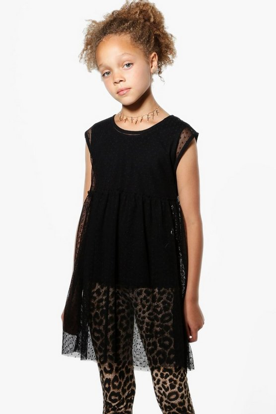 Girls Mesh Double Layer Top