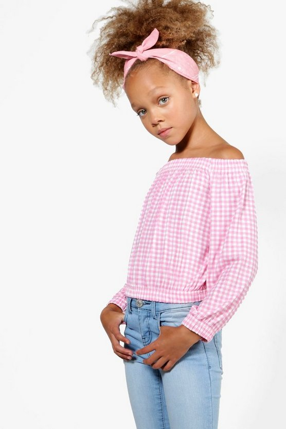 Girls Gingham Bardot Long Sleeve Top