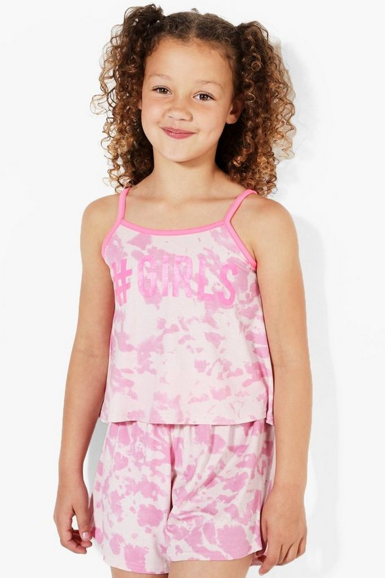 Girls Slogan Tie Dye Vest & Tee Set