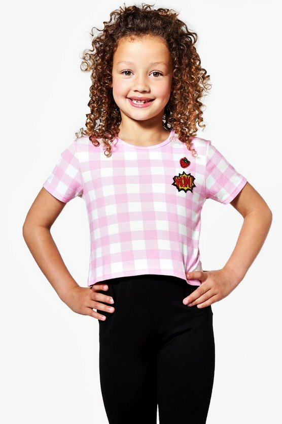 Girls Large Gingham Badged Set