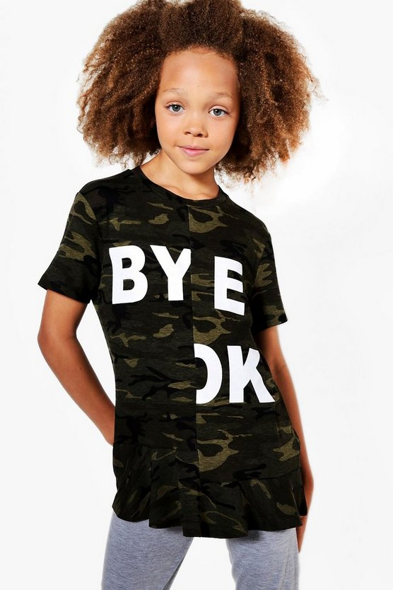 Girls Spliced Slogan Frill Hem Tee