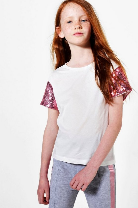 Girls Sequin Sleeve Tee