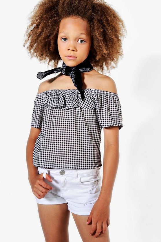 Girls Ruffle Bardot Gingham Top