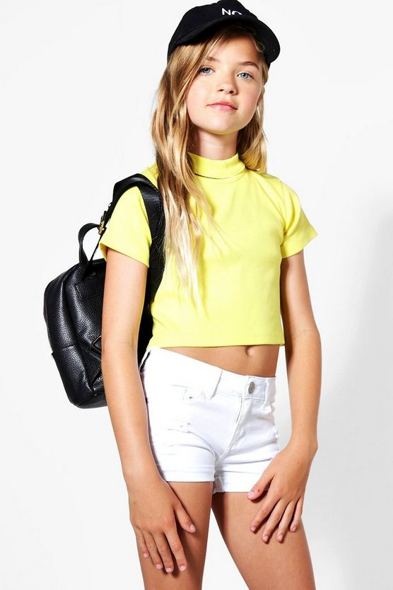 Girls Rib Choker Detail Crop Top