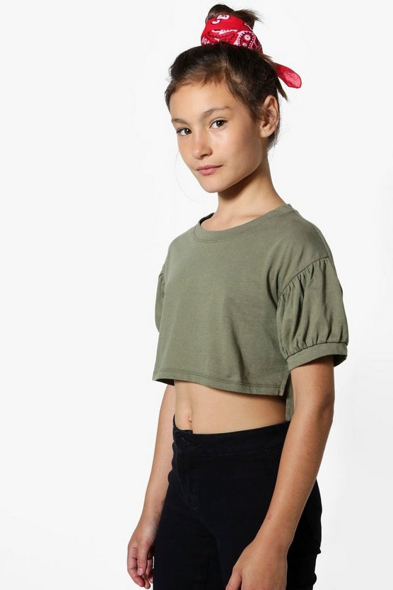 Girls Puff Sleeve Cropped Top