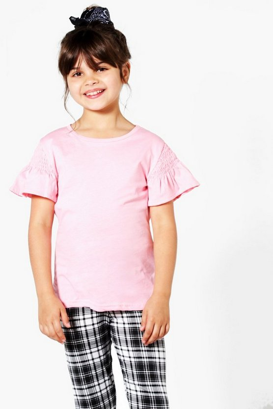 Girls Gathered Sleeve Longline Tee