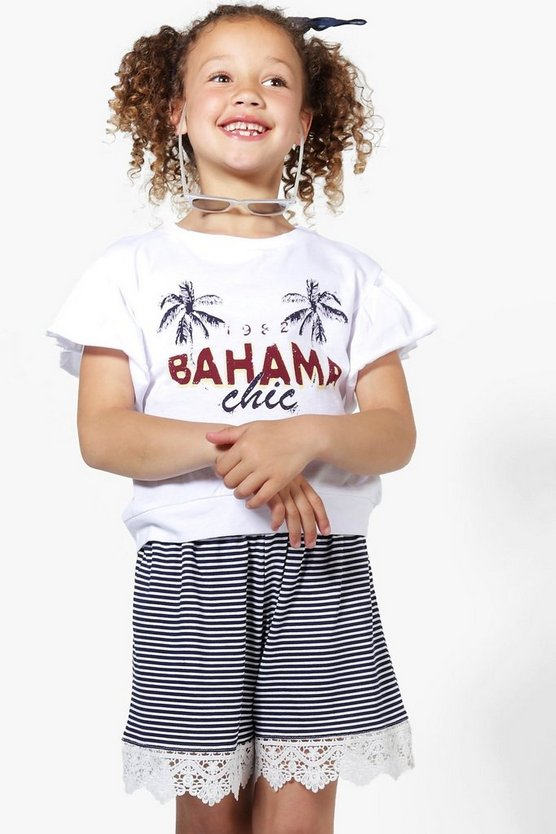 Girls Bahama Chic Flute Sleeve Top