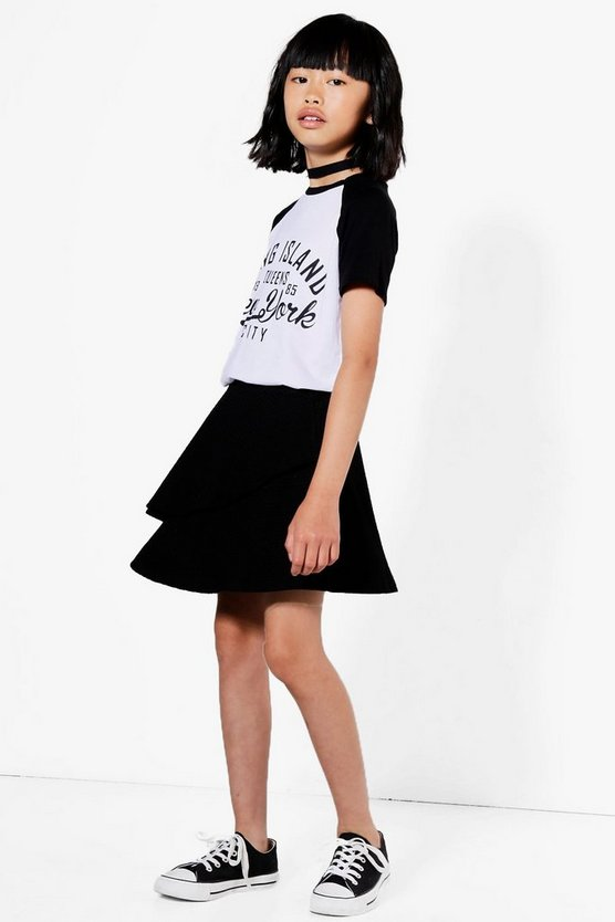 Girls Double Frill Textured Skirt