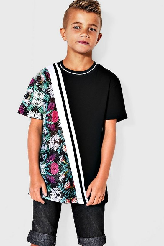 Boys Floral Spliced Upside T-Shirt