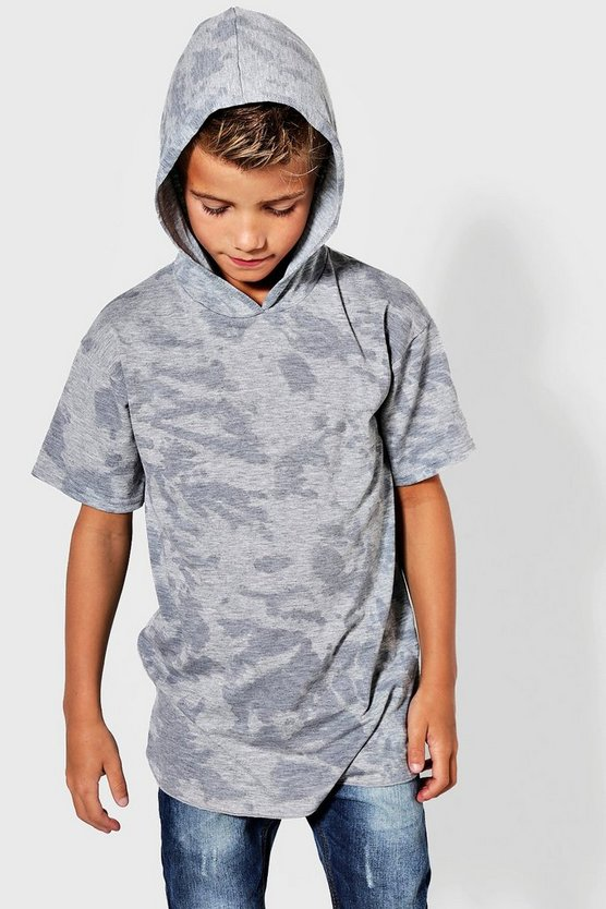 Boys Long Line Splash Print Hooded Top