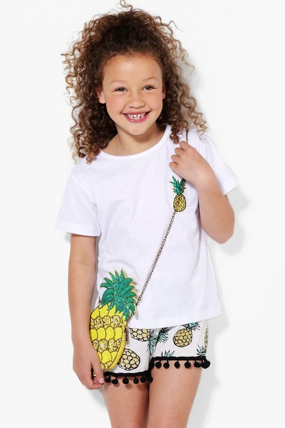 Girls Pineapple Badge Tee