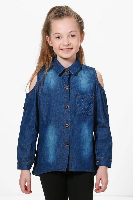 Girls Denim Open Shoulder Shirt
