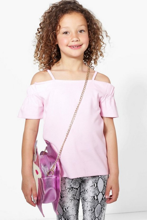 Girls Bardot Textured Top