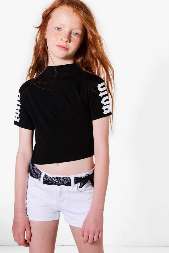 Girls Printed Sleeve Diva Tee
