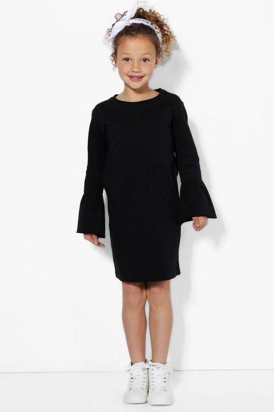 Girls Flared Sleeve Sweat Dress